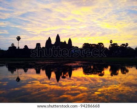Sunrise of Angkor Wat - stock photo