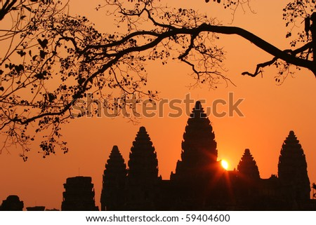 sunrise of Ankor Wat, Siem Reap, Cambodia - stock photo