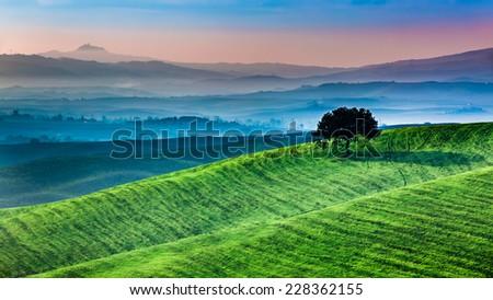 Sunrise of dreamland in Tuscany - stock photo