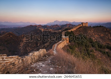 Sunrise of Jinshanling Great Wall