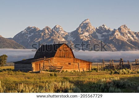 Sunrise of Moulton Barn in the Grand Teton National Park, Wyoming - stock photo