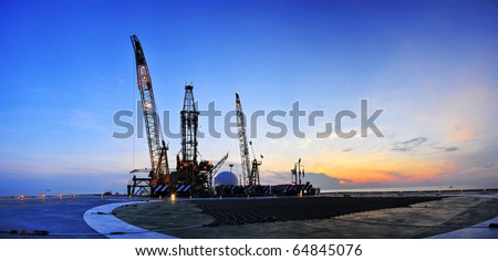 Sunrise, Oil Rig Panoramic 1 - stock photo