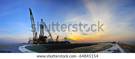 Sunrise,Oil Rig Panoramic 2 - stock photo