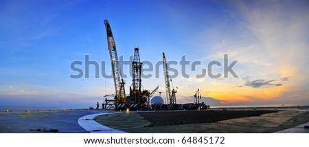 Sunrise, Oil Rig Panoramic 3 - stock photo