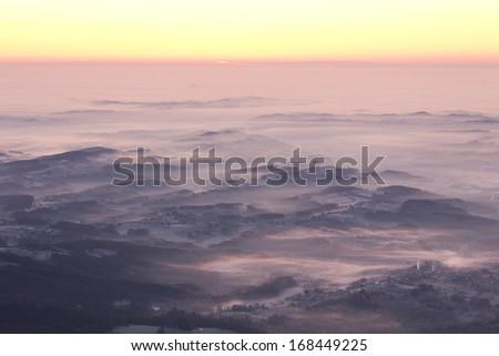 sunrise on a mountain - stock photo