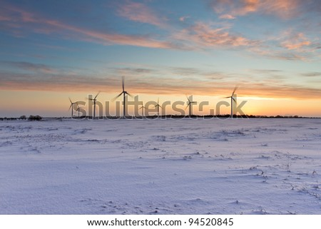 Sunrise on a new and sustainable energy source - a wind farm in North Yorkshire