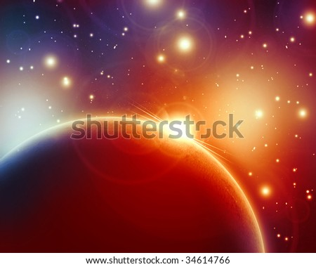 sunrise on a planet in outer space