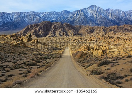 Sunrise on Alabama Hills, Sierra Nevada Mountains, California, USA - stock photo