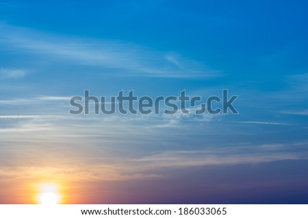 sunrise on blue sky. - stock photo