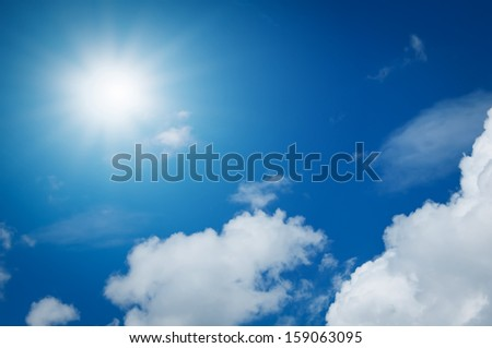 sunrise on blue sky with white cloud in summer