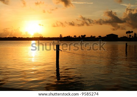 Sunrise on Boca Ceiga Bay Madeira Beach Florida - stock photo
