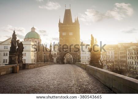 Sunrise on Charles Bridge in Prague, Czech Republic - stock photo