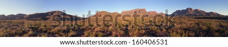 Sunrise on Chisos Mountains in Big Bend National Park, Texas - stock photo