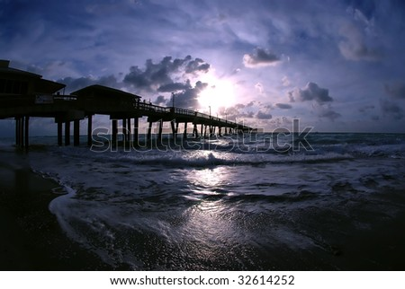 sunrise on Dania Beach pier