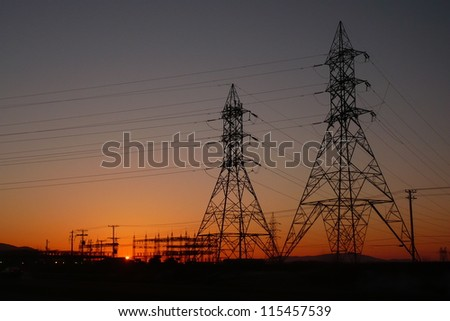 Sunrise on Electrical Pylons in Quebec