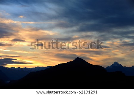 Sunrise on French alps