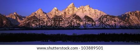 Sunrise on Grand Tetons, Grand Teton National Park, Wyoming - stock photo