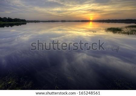 Sunrise on Hernando Lake, Florida, USA - stock photo