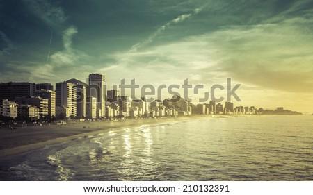 Sunrise on Ipanema Beach in Rio de Janeiro, Brazil - stock photo