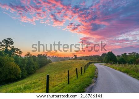 Sunrise on Jones Lane, KY - stock photo