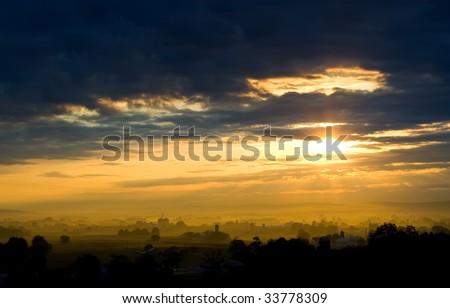 Sunrise on Lancaster County - stock photo