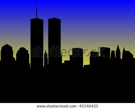 sunrise on manhattan - stock photo