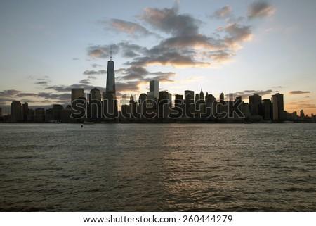 Sunrise on One World Trade Center (1WTC), Freedom Tower, New York City skyline, New York City, New York, USA, 03.21.2014 - stock photo