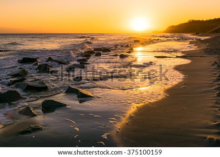 sunrise on the Baltic Sea of Usedom Island, Germany