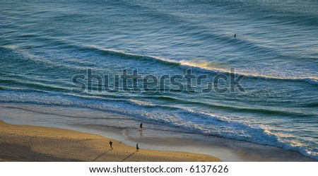 Sunrise on the Beach in Surfer's paradise on the Gold Coast, Queensland, Australia - stock photo