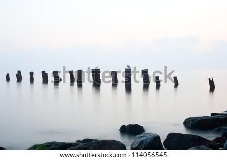 Sunrise on the Black sea. - stock photo