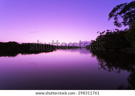 Sunrise on the Currambene Creek at Jervis bay - stock photo