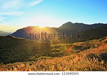 sunrise on the high mountain in Taroko National Park, Taiwan - stock photo
