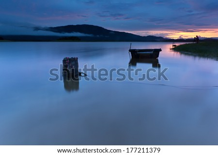 sunrise on the lake, boat