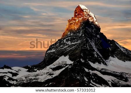 sunrise on the Matterhorn - stock photo