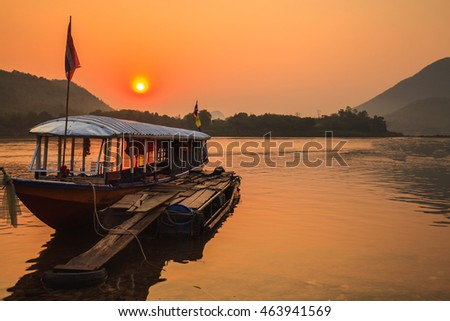 Sunrise on the Mekong river in Thailand.