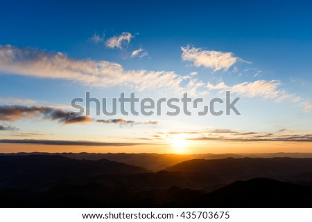 Sunrise on the mountain. Beautiful landscape. Carpathian, Ukraine, Europe.  - stock photo