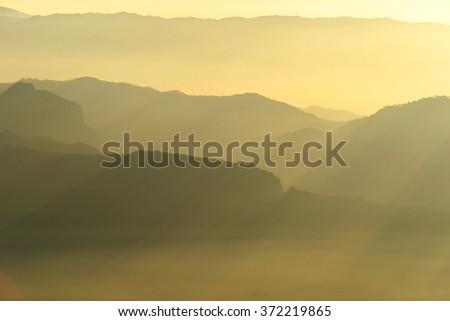 Sunrise on the mountain, Chiang Mai, Thailand. - stock photo