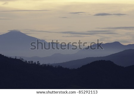 Sunrise on the mountains of West Java
