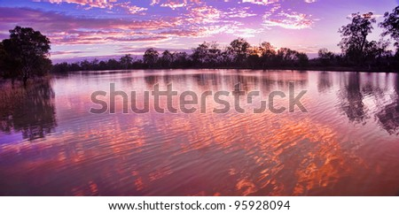 sunrise on the murray river - stock photo