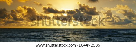 Sunrise on the Pacific Ocean at Hawaii - stock photo
