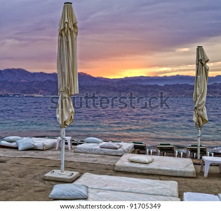 Sunrise on the southern beach of Eilat, Israel - stock photo