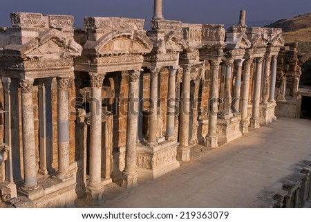 Sunrise on the stage of the ancient amphitheatre in Heirapolis near Pamukkale, Turkey. - stock photo