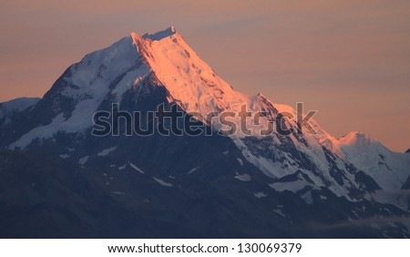 Sunrise on the Summit of Mt. Cook in New Zealand