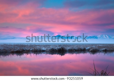 Sunrise on Utah Lake - stock photo