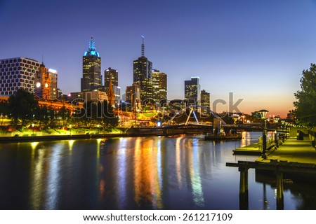 sunrise on yarra river and city - stock photo