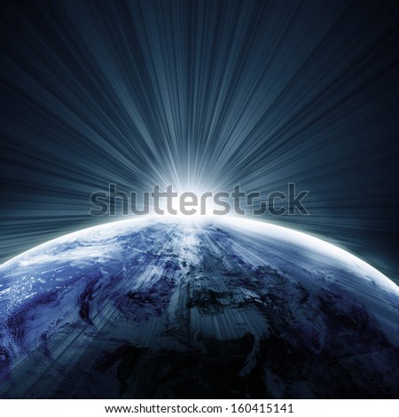 sunrise or sunset on a planet in deep outer space - stock photo