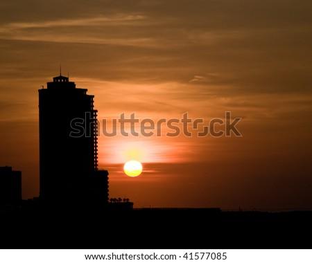 sunrise over a city - stock photo