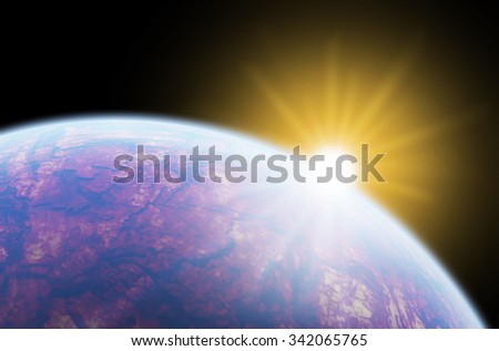 Sunrise over a distant planet