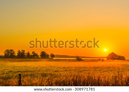 Sunrise over a field with mist in the morning - stock photo