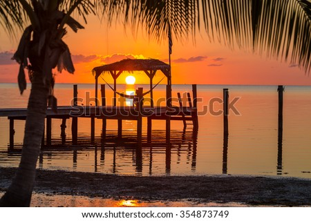 Sunrise over a hammock in Key West, Florida - stock photo